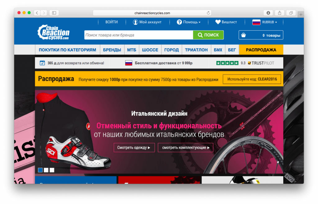 Chain Reaction Cycles на русском
