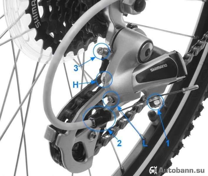 регулировка заднего переключателя скоростей велосипеда shimano