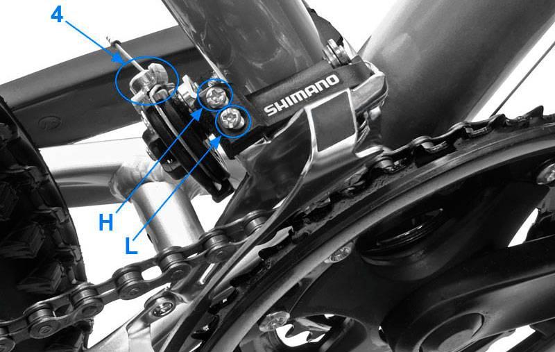 Регулировка переднего переключателя скоростей велосипеда shimano