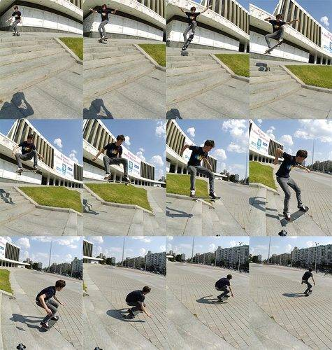 Трюк олли на скейте